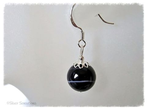 Dark Purple Stripey Banded Agate & Sterling Silver Earrings